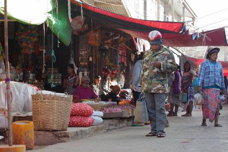 saleswomen: The traditional market of Loikaw in Myanmar