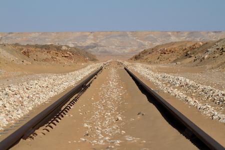rail route: Rail route across the Sahara in Egypt Stock Photo