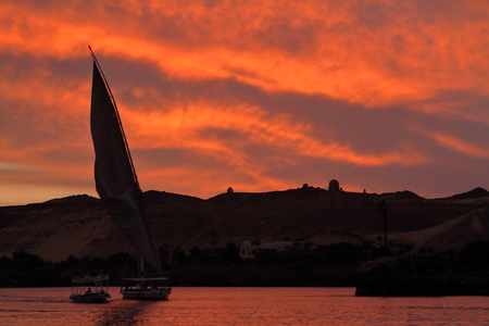 the nile: Sunset with feluccas on the Nile in Egypt