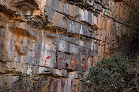 pintura rupestre: Rock paintings and cave painting in the Caatinga of Brazil Foto de archivo