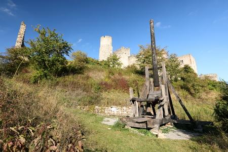 Slingshot at the ruin Brandenburg Thuringia