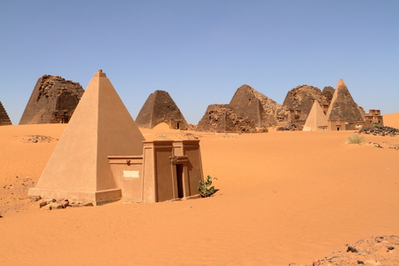 The pyramids of Meroe in the Sahara of Sudan Stock Photo