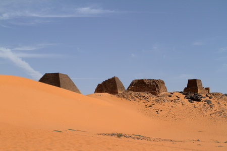 Sudan: The pyramids of Meroe in the Sahara of Sudan Stock Photo