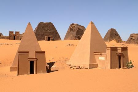 The pyramids of Meroe in the Sahara of Sudan Фото со стока