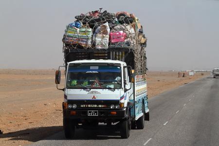 Trucks in Sudan at the Sahara crossing