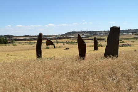 obelisk stone: Menhirs of Aksum in Ethiopia Stock Photo