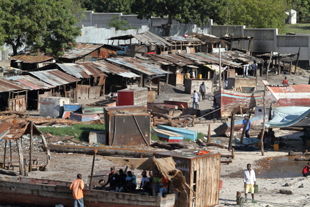 The harbor slums of Dar Es Salaam in Tanzania,30. September 2012 Stock Photo