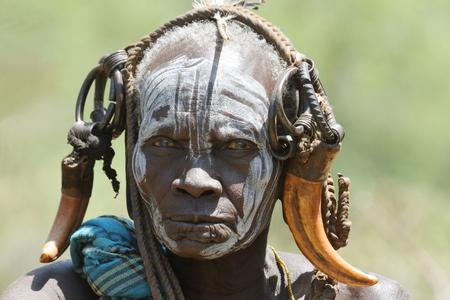 Mursi-vrouwen in de Omo-vallei van Ethiopië Stockfoto