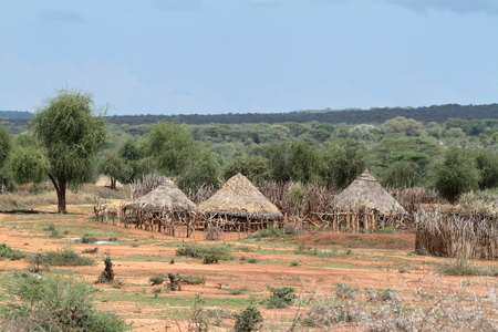 Traditional villages and straw huts in the Omo Valley of Ethiopia Stok Fotoğraf