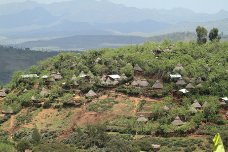 Traditional straw huts in the Omo Valley of Ethiopia