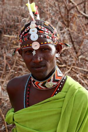 ケニアのサンブル族からの男性