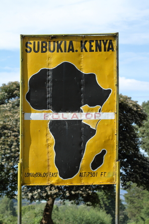 The Equator crossing in Kenya Stock Photo