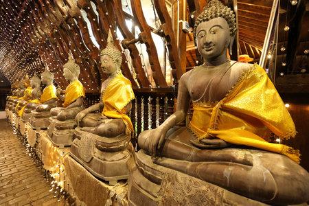 Buddha figures in the Seema Malaka temple of Colombo in Sri Lanka