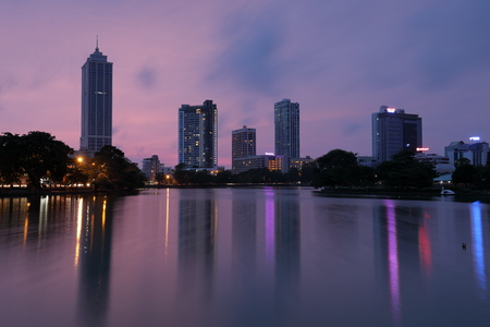 The skyline of Colombo in Sri Lanka at night