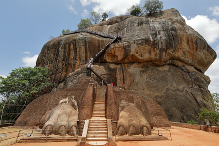 The Lion Rock of Sigiriya in Sri Lanka Фото со стока