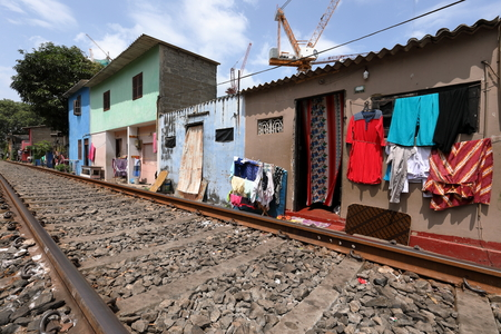 Houses right on the railway in Colombo