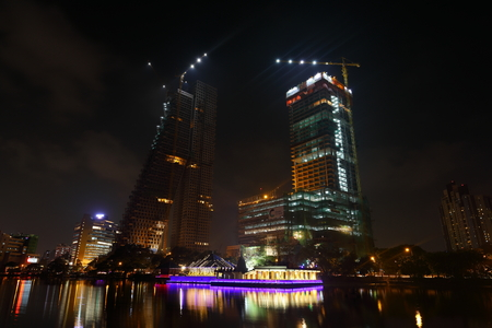 The skyline of Colombo at night Editorial