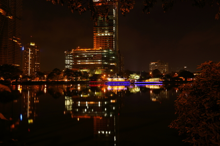 The skyline of Colombo at night Stock Photo