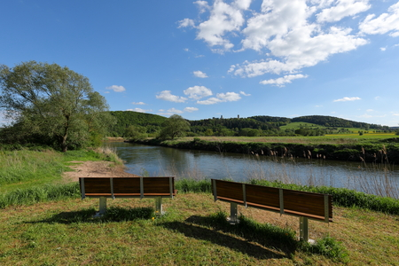 The Werra Valley between Hesse and Thuringia in Germany 스톡 콘텐츠