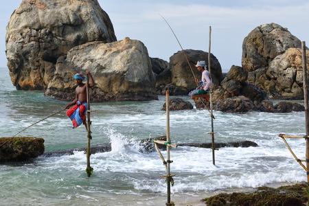 Stills fishermen on the beach of Koggala in Sri Lanka