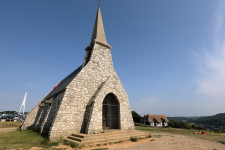 Small church of Etretat on the cliffs of the Alabaster coast in Normandy Stock Photo