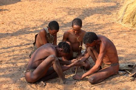 Bushmen in Namibia are making fire