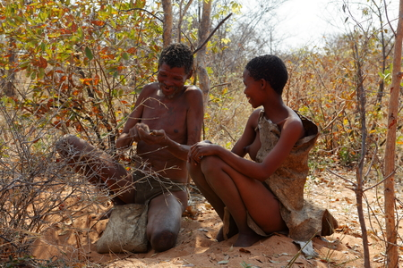 The San tribe in Namibia Stock Photo