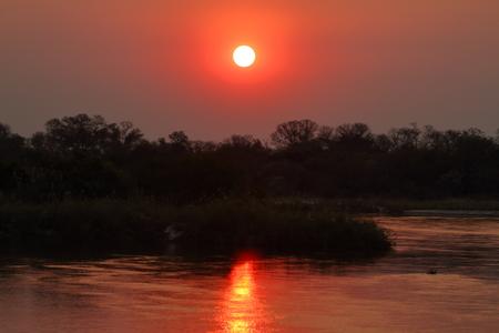 Sunset in the Okavango Delta in Africa