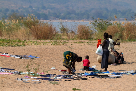 Women drying their clothes in Malawi, September 24, 2012