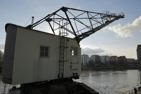 Old harbor cranes in Frankfurt