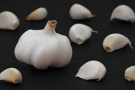 Fresh garlic with tuber and cloves