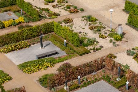 Garden design and city park in Erfurt Фото со стока