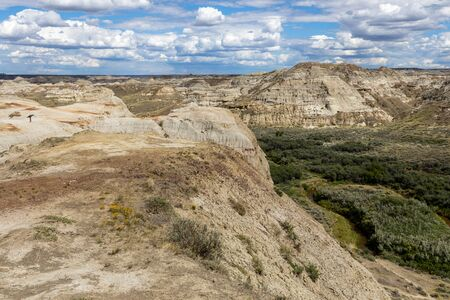 The Badlands in the Prairie of Alberta in Canada