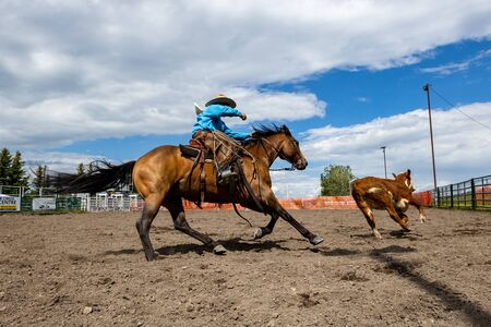 Cowboys and Rodeo Games at Pincher Creek Canada Stock Photo - 131547750