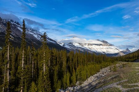 Landscape of the Icefield Parkway at Jasper National Park of Canada