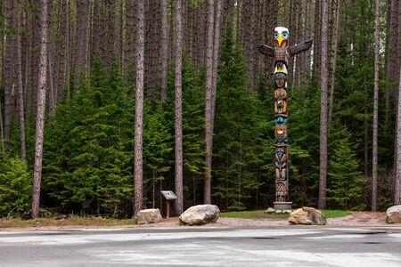A totem pole of the first nations of Canada