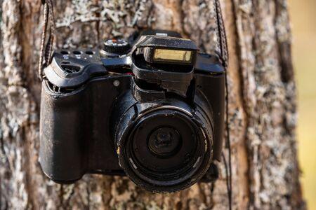 An old damaged camera