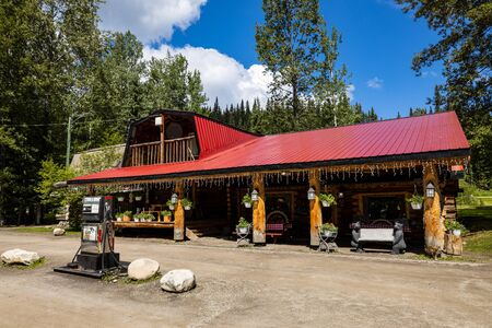 Gas Station along the Alaska Highway close to Watson Lake in Canada, June 25, 2019