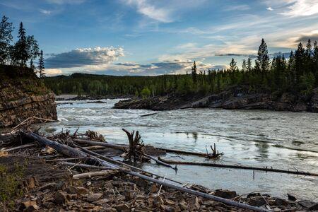 The Liard River along the Alaska Highway in Canada Stok Fotoğraf