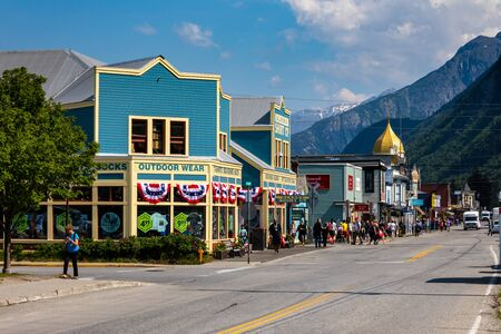 The historic City of Skayway in Alaska, June 27, 2019