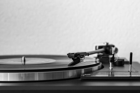 Old vinyl and turntable for retro music