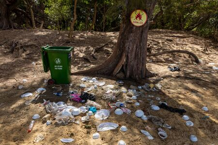 The environmental pollution in the landscape of Con Dao in Vietnam, January 03, 2019