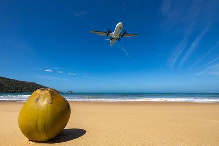 Airplane is landing on Con Dao in Vietnam