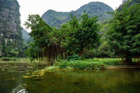 The Landscape of Ninh Binh with the Caves of Tam Coc and Trang An Stock fotó