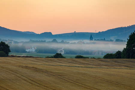 Early morning with fog in Herleshausen in Germany