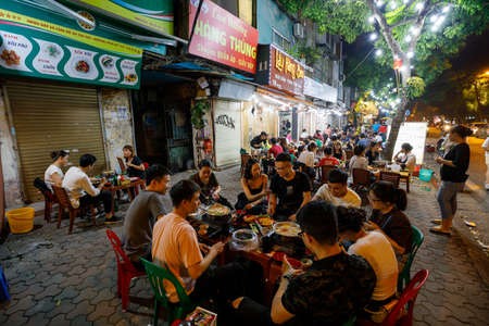 The nightlife at the city center of Hanoi in Vietnam, October 26, 2019