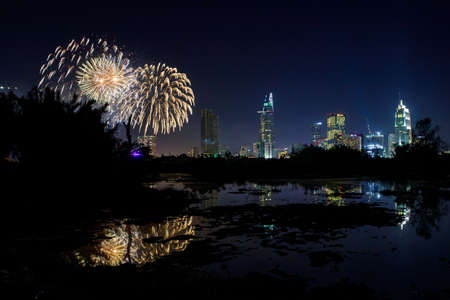 Fireworks over the city of Saigon in Vietnam Stock Photo