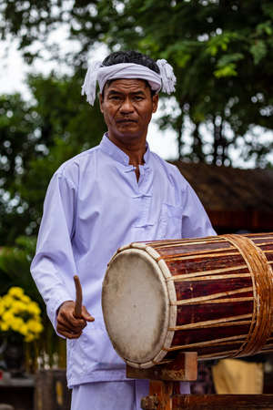 Drummer at the Cham Towers of Po Nagar in Na Trang in Vietnam
