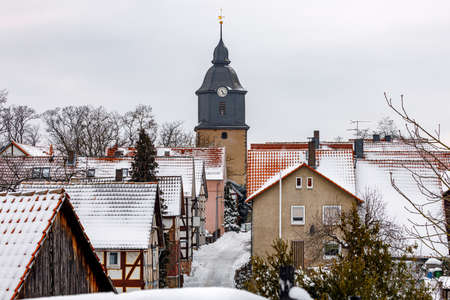 The village and church of Herleshausen in Hesse Germany