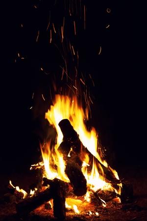 Bonfire burning at the night photo